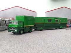 quicksilver coaches posted a photo:This Foden Fleetmaster, a whitemetal model with a cab seemingly cast from the old Davric plastic kit, has been in my collection for years but I wasn't happy with its crude finish in a bright orange that really didn't suit it. The time had finally come to strip it down and repaint it in matching colours to pull my Langley living wagon.