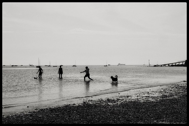 Stone skimming, Seaview...