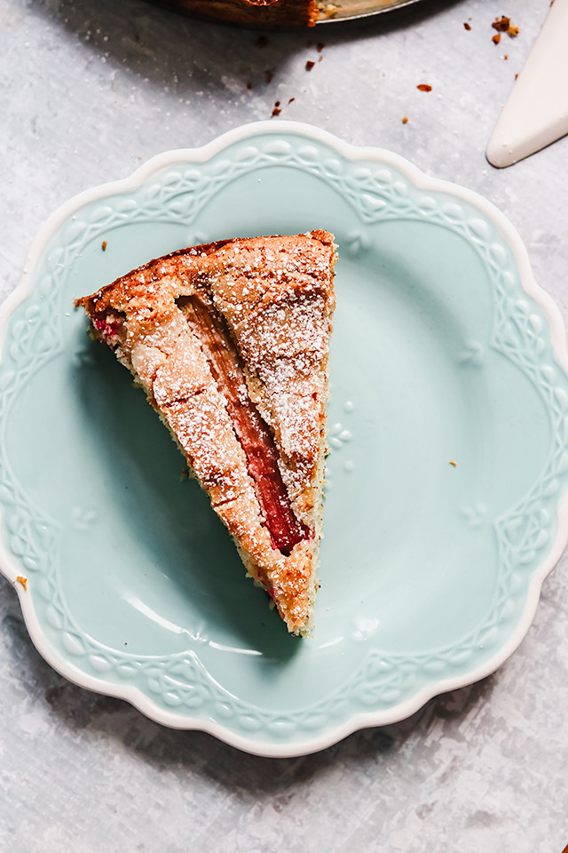 Rhubarb, Rose, and Almond Cake