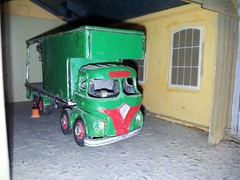 quicksilver coaches posted a photo:This Foden S21 donated its body to the Scammell after languishing out of use for years. Photographed inside the garage to hide the full horror. it had been very roughly assembled without cleaning up the edges and then drowned in several different types of glue to hold it all together; the most noticeable fault was that the roof was tapering upwards towards the rear as the supports were glued to the top of the platform instead of the sides. A complete stripdown and careful reassembly soon transformed it though.
