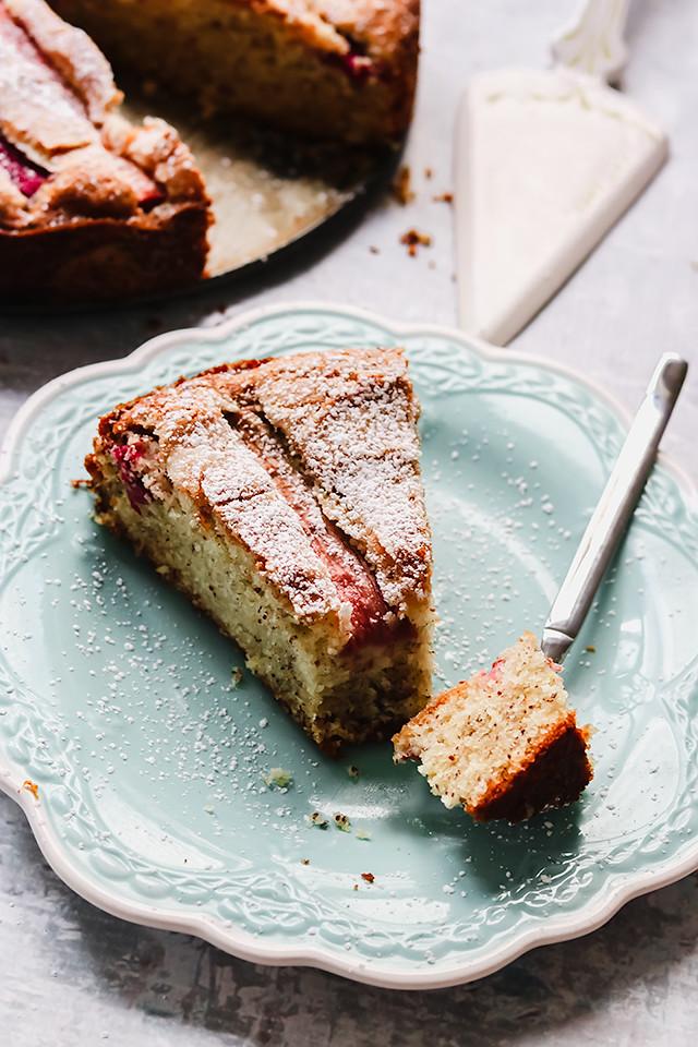 Rhubarb, Rose, and Almond Cake