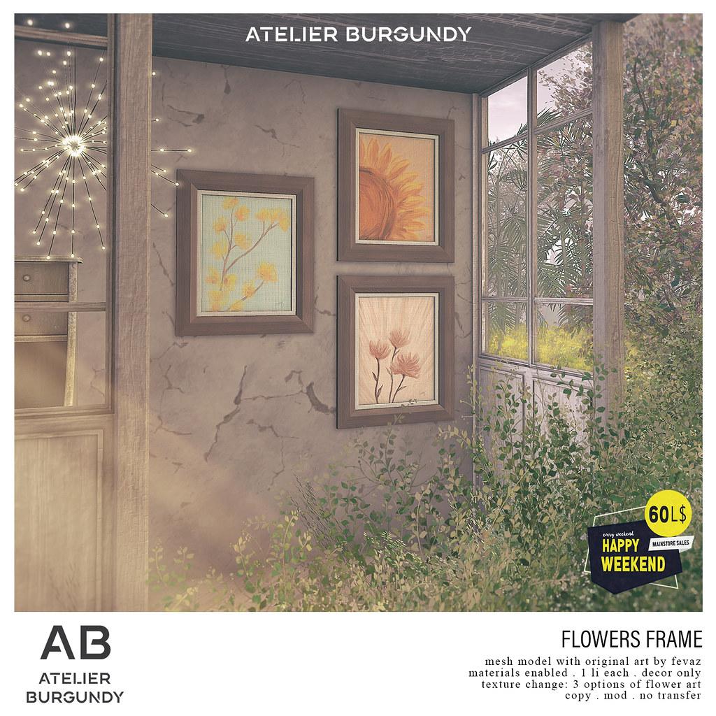 Atelier Burgundy . Flowers Frame HW