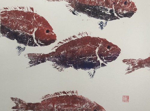 Sea Bream - 022 | £62 inc p&p UK | 2020 | 51x38cm | Japanese Paper Mounted on Fabriano Artistico Paper