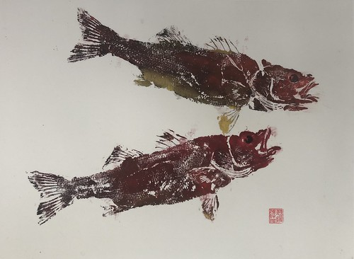 Sea bass - 023 | £62 inc p&p UK | 2020 | 51x38cm | Japanese Paper Mounted on Fabriano Artistico Paper