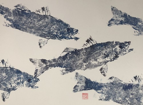 Sea bass - 020 | £62 inc p&p UK | 2020 | 51x38cm | Japanese Paper Mounted on Fabriano Artistico Paper