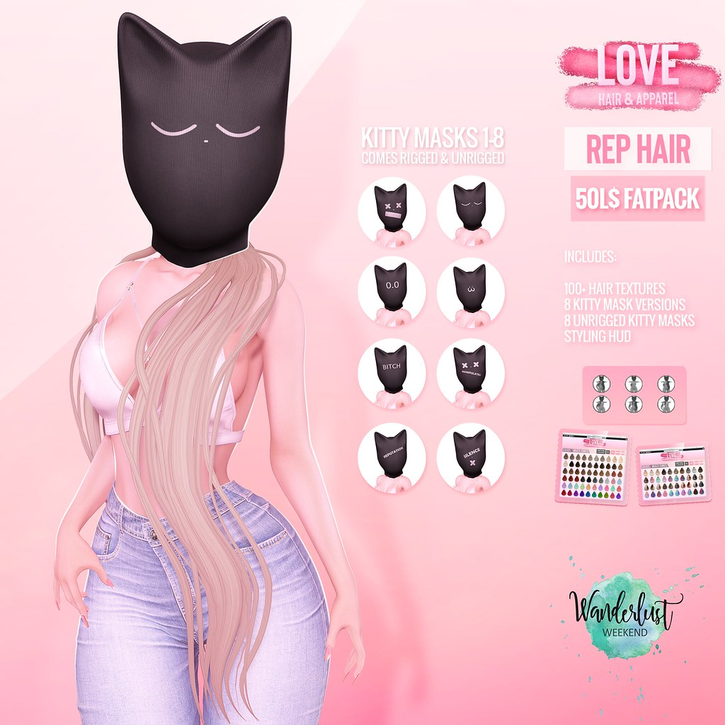 Love [Rep] Hair & [Kitty Masks] - 50L✨💖FATPACK💖✨ - Wanderlust Weekend