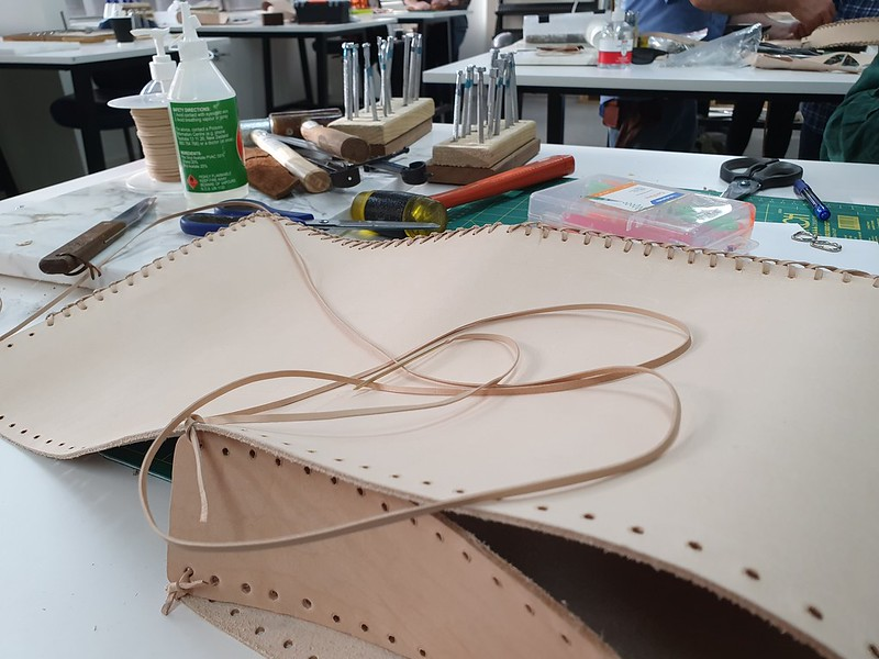 Stamping and lacing class at Leffler Leather