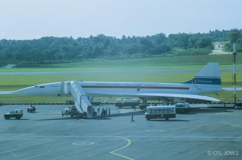 10 June 1972, prototype Concorde G-BSST at Paya Lebar Airport, Singapore