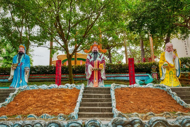 Statues of characters from Chinese folk tales in Haw Par Villa in Singapore