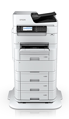 Epson WorkForce Pro WF-C879R (shown here) and WF-C878R RIPS (Replaceable Ink Pack System) multifunction A3 printers.