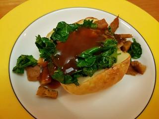 Baked Potato with Seitan, Kale, and Gravy