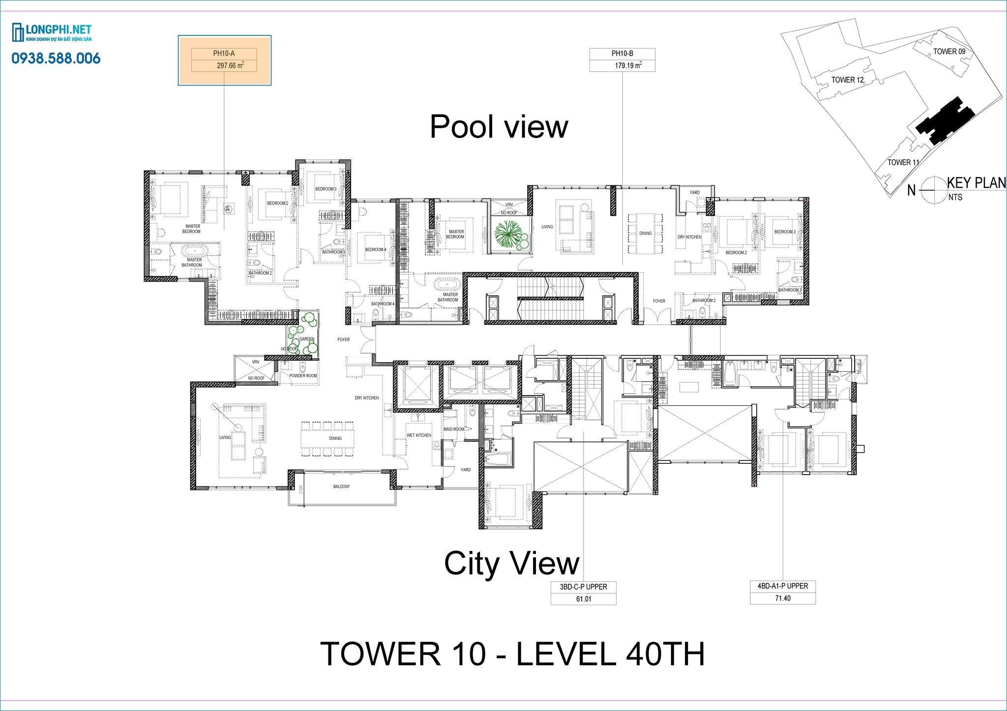 Mặt bằng penthouse tháp 10 dự án The Infiniti quận 7 - Keppel Land.