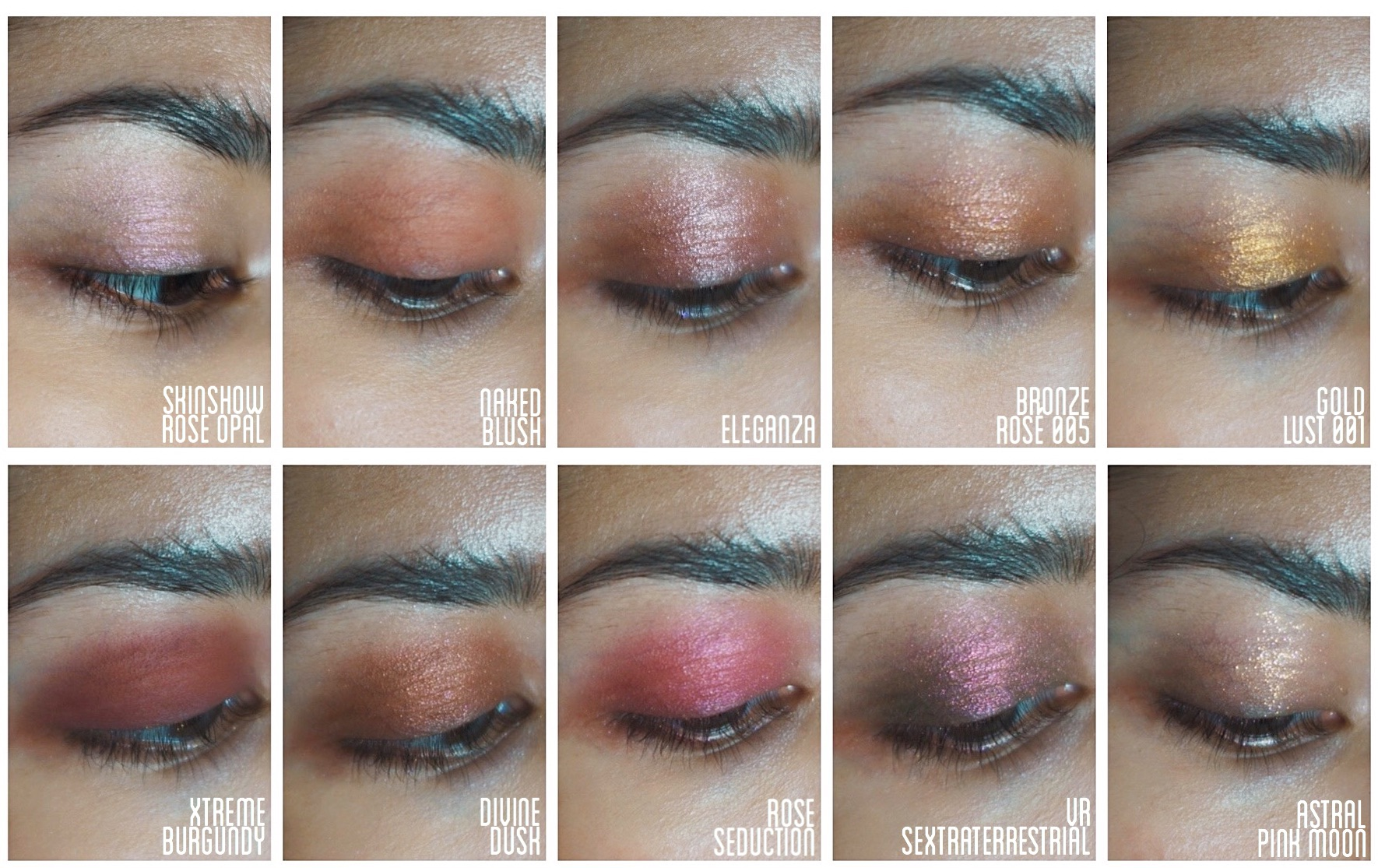 Pat McGrath mothership VIII divine rose II palette swatches medium skin review skinshow rose petal swatch, naked blush swatch, eleganza swatch, bronze rosé 005 swatch, gold lust 001 swatch, xtreme burgundy swatch, rose seduction swatch, divine dusk swatch, VR sextraterrestrial swatch, astral pink moon swatch