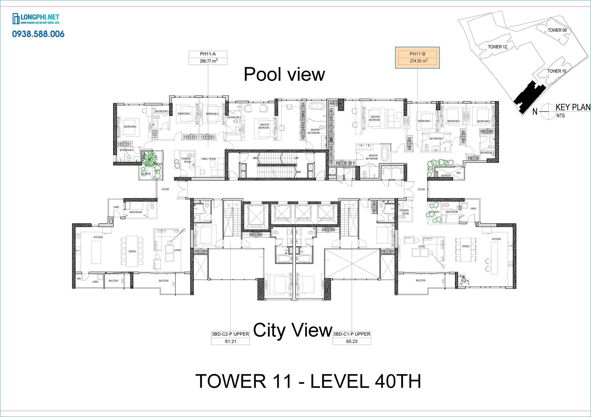 Mặt bằng căn hộ penthouse tháp 11 dự án The Infiniti quận 7 - Keppel Land.