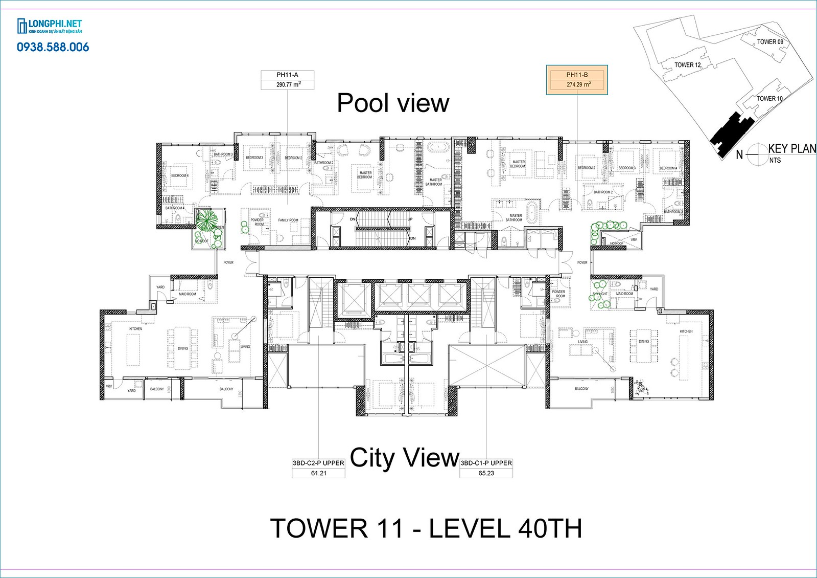 Mặt bằng chitiet61 penthouse tháp 11, dự án The Infiniti quận 7 - Keppel Land.