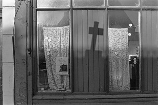 Window with cross, Mansfield Rd, Gospel Oak, Camden, 1987 87-1b-35_2400