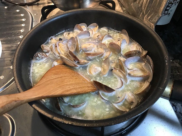 cook the clams until all opened up