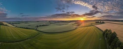 sunset turnworth dorset drone pano panoramic landscape uk