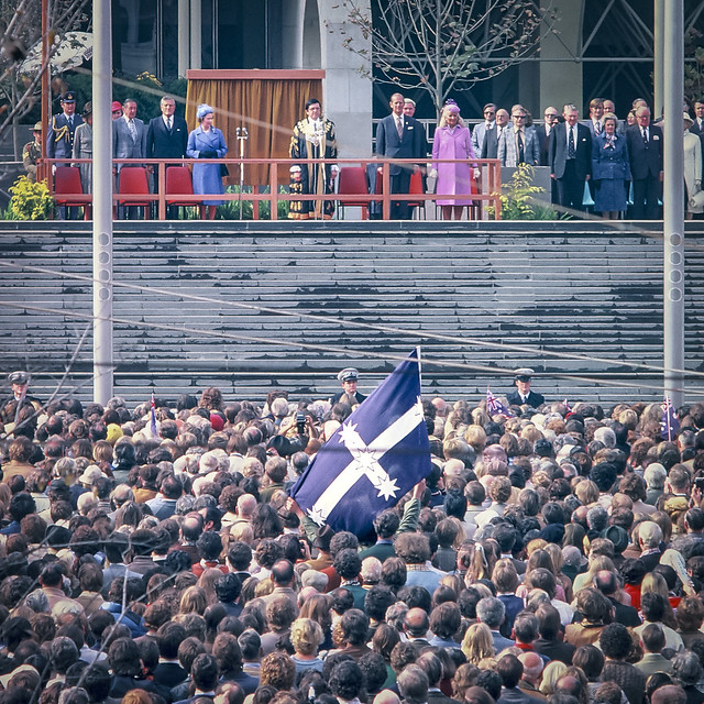 The Queen opening the Melbourne City Square 28-05-1980