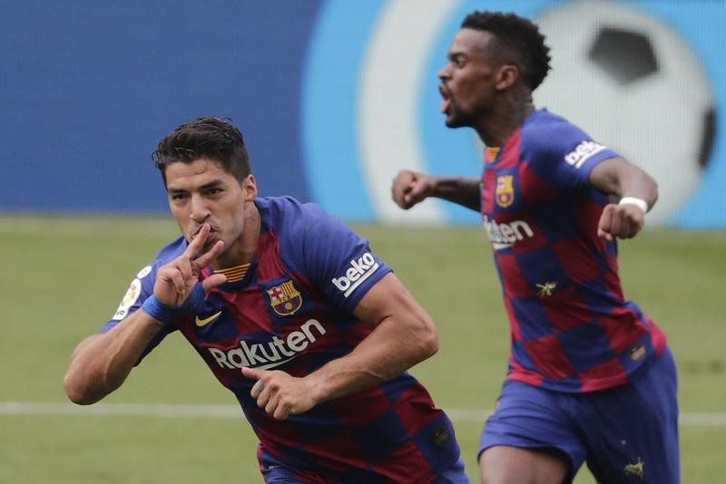 Luis Suarez(左)慶祝進球。(達志影像)
