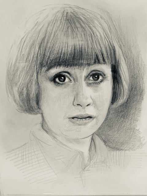 Practice Portrait in graphite and Polychromos pencil. Drawn by jmsw , Just for Fun.