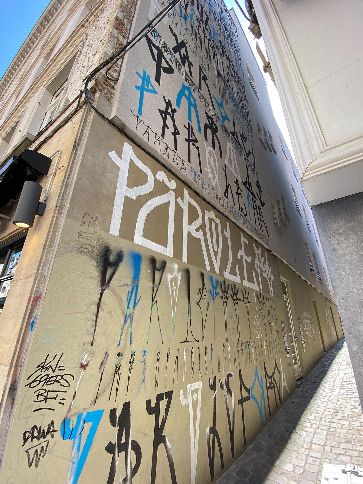 Mural Rue de Namur by artist Parole