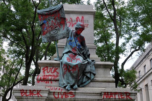 Albert Pike statue pedestal