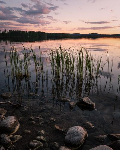 suomi finland jyväskylä leppälahti nature landscape lake reflections clouds sunset evening summer rocks shore amazing europe nikon d750 tamron 2470mm