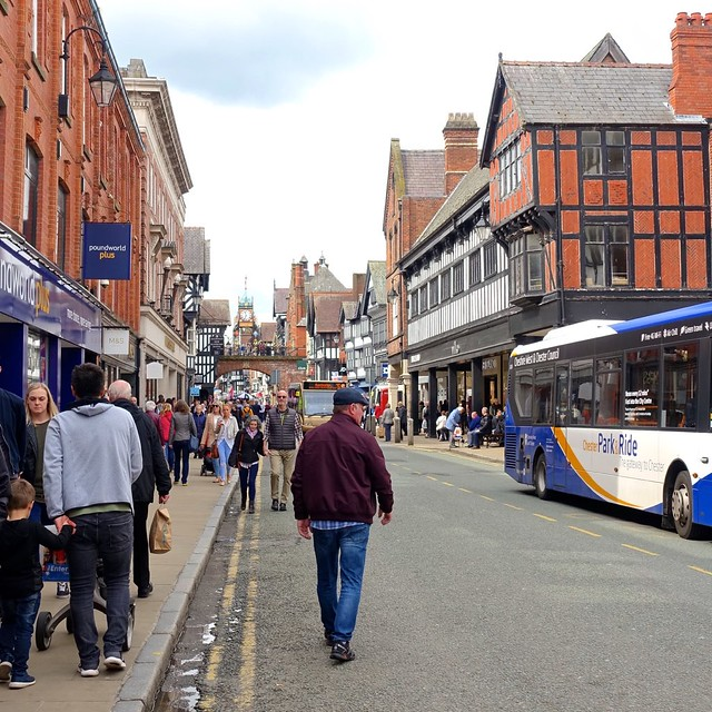 Shoppers and strollers in downtown Chester, England