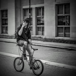 A happy confused cyclist