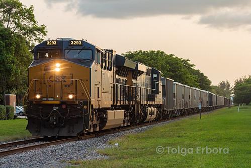 csx train sunset silhouette grab shot doral miami florida o721 gevo es44ah et44ah boxcar logo transportation railroad railway freight rock