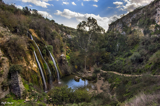 Waterfalls in a Nature Reserve and National park `The Oven` in northern Israel