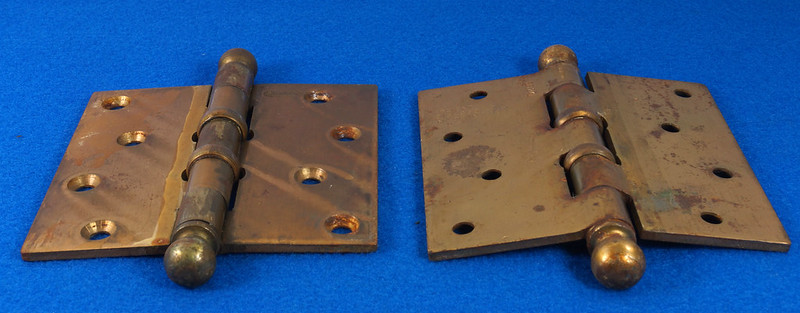 RD17325 2 Vintage Stanley Brass Plated Cannon Ball Tip Door Hinges 4 X 4 Pat. 2154860 BB241 DSC08103