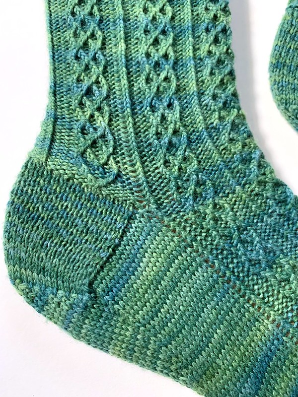 Detail of gusset and heel flat on sock blocker