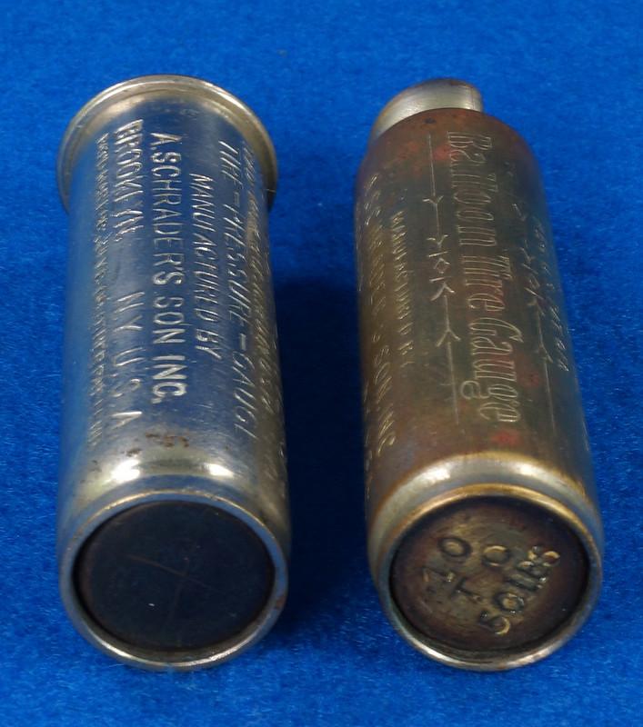 RD18799 2 Antique Schrader Balloon Tire Pressure Gauges Patented 1909 & 1923 DSC08475