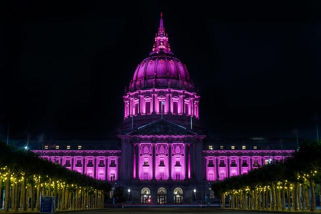 city hall illuminated for pride 2020