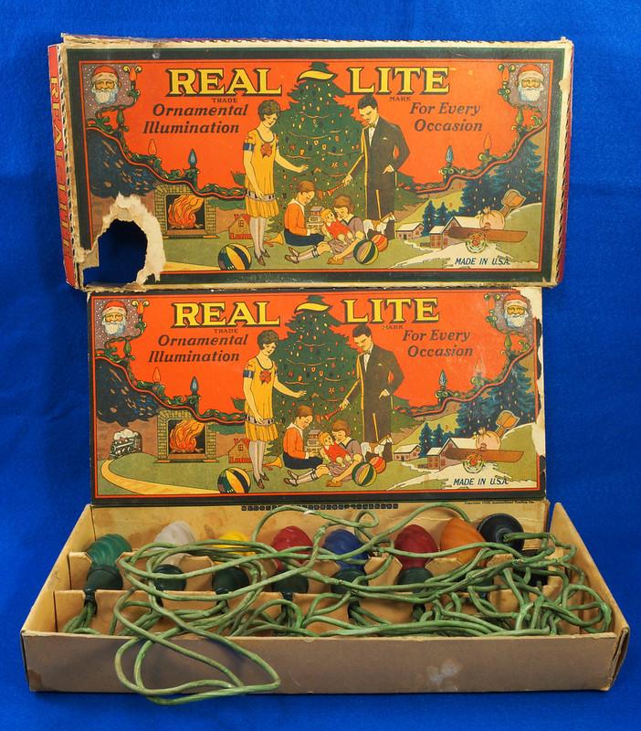 RD30169 Vintage Real Lite Christmas Light Set 1928 Rare Beautiful Box Roaring Twenties DSC08431