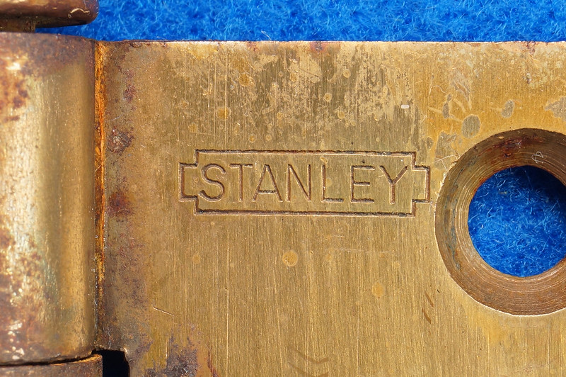 RD17325 2 Vintage Stanley Brass Plated Cannon Ball Tip Door Hinges 4 X 4 Pat. 2154860 BB241 DSC08105