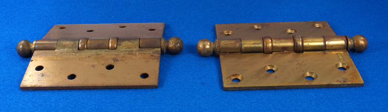 RD17325 2 Vintage Stanley Brass Plated Cannon Ball Tip Door Hinges 4 X 4 Pat. 2154860 BB241 DSC08102