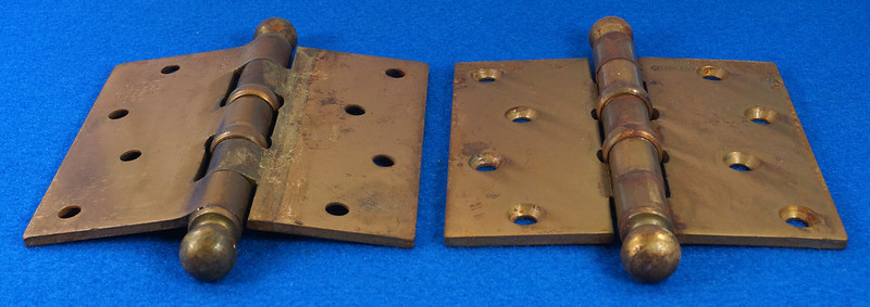 RD17325 2 Vintage Stanley Brass Plated Cannon Ball Tip Door Hinges 4 X 4 Pat. 2154860 BB241 DSC08101