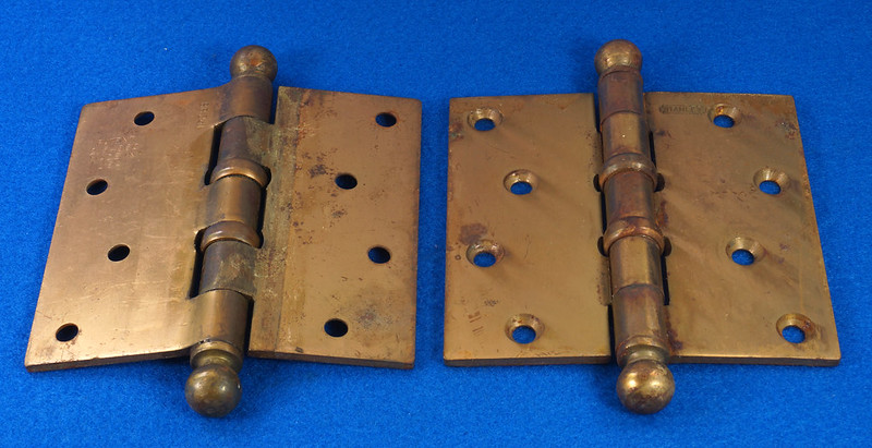 RD17325 2 Vintage Stanley Brass Plated Cannon Ball Tip Door Hinges 4 X 4 Pat. 2154860 BB241 DSC08100