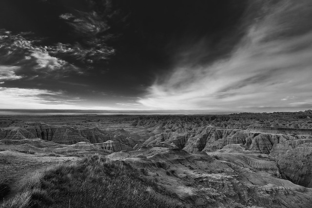 Big Badlands Overlook and Blue Skies with Clouds (Black & White, Badlands National Park)
