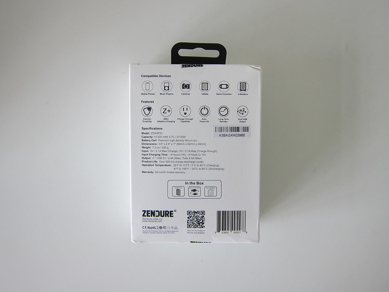 Zendure A3 Power Bank - Box Back