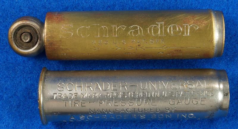 RD18799 2 Antique Schrader Balloon Tire Pressure Gauges Patented 1909 & 1923 DSC08470
