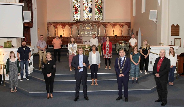 The Revd Rob Jones, Lord Mayor Tom Brabazon and Archbishop Michael Jackson with the team from Holy Trinity Rathmines.