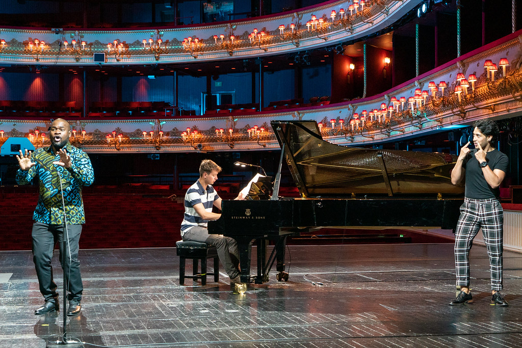 Blaise Malaba, Edmund Whitehead and Filipe Manu in rehearsal for Live from Covent Garden, 27 June 2020 ©2020 ROH. Photograph by Ruairi Watson