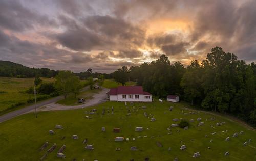sunset aerial bigbottom cemetery mavic drone pro2 dji frazierschapel uppercumberland