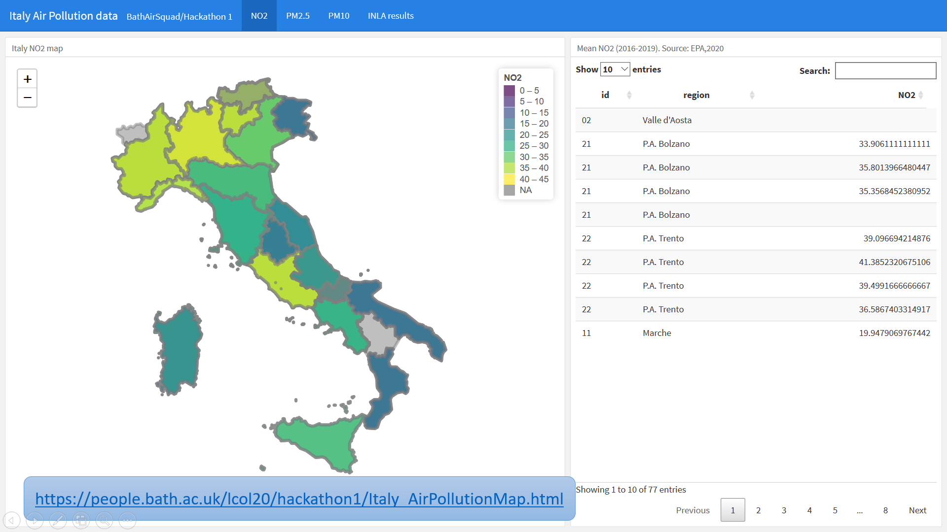 Some maps of Italy showing modelling of the data on air pollution
