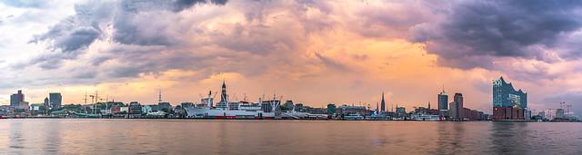 Clouds over Hamburg Pano