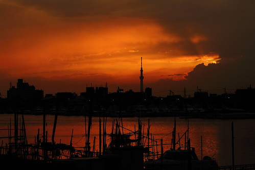 ichikawa chiba japan sunset cloud clouds cloudy sky water river kyuedoriver sun fishingboat boat skytree tower tokyo tokyoskytree
